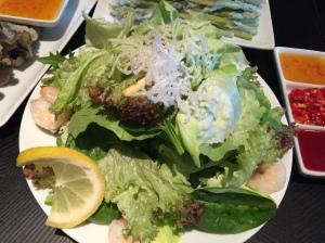Jumbo shrimps and citrus salad