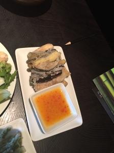 Crispy aubergine with spicy mango sauce